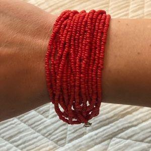 Coral beaded multi strand bracelet